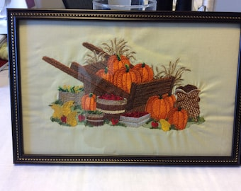 Fall Harvest embroidered picture
