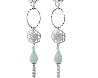 Authentic pagoda chalcedony earrings