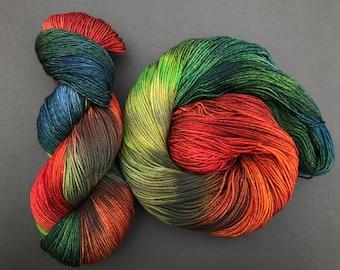 """Sock weight, hand dyed yarn, Superwash Merino, 490 yards, """"Foshi"""""""