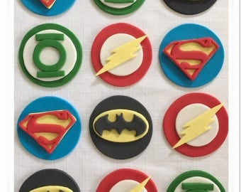 Set of 12 or 24 Superhero Cupcake Toppers Cupcake Toppers