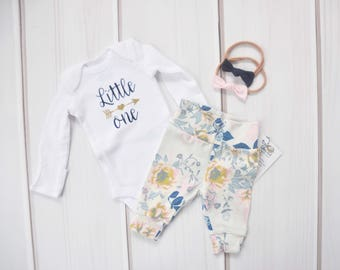 Baby Girl Hospital Outfit, Coming Home Set, Baby Shower Gift, Floral Leggings, Baby Pants, Newborn Clothe, Babies First Outfit