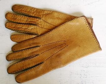 Mens driving gloves size XS 7.5 camel brown soft leather car driver gloves fall vintage 1970s 70s