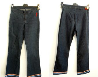 Stretch high wasted jeans W27 wide leg bell pants dark blue denim trousers 70s bell trouser vintage 90s