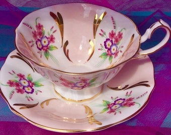 Pretty Pink Addiction-Queen Anne Footed Teacup and Saucer