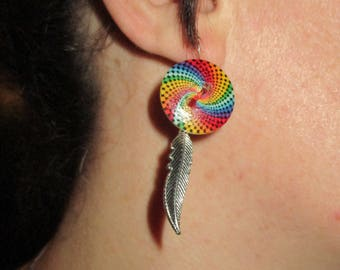 Spiral button earrings