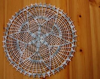 Doily crochet handmade Heather grey/white