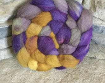 Superwash BFL  Hand Painted Combed Top - Spinning Fiber -Non Feltable - approx. 4 ounces each - PURPLE SAGE