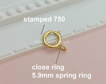 6mm 18k Solid yellow gold Spring ring Clasp Closure,18 karat Solid yellow gold. K37
