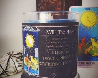 THE MOON Tarot Candle - Spell Candle - Magick - Witchcraft - Rider Waite - Moonstone