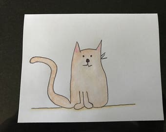 Blank Kitty Note Card