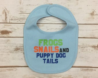 Baby Boy Bib - Frogs Snails and Puppy Dog Tails Bib - Baby Shower Gift