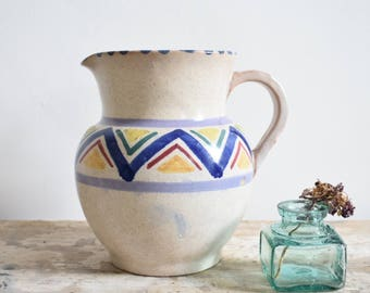 Vintage pottery jug, Honiton shape 29, multicolour zigzag design, hand painted.