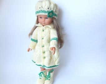 """Clothes for dolls Paola Reina (12""""/32 cm),  Corolle Les Cheries(13""""/33cm),Antonio Juan Munecas.Set-coat, hat, boots."""