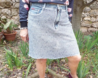 Jeans recycled cotton net skirt