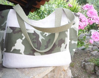 Camouflage and linen canvas and cotton tote bag