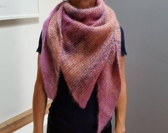 Scarf, shawl, scarf made of mohair silk, Brown, pink, copper, silk, neckerchief, rose, brown,.