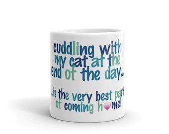 cuddling with my Cat - Mug