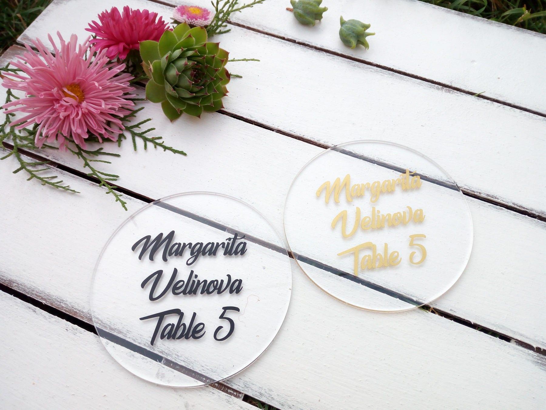 Circle acrylic place card, Round wedding table decor, Geometric ...