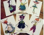 """Collection de 6 cartes postales """" Les sorcières"""". FRAIS DE PORT OFFERTS"""