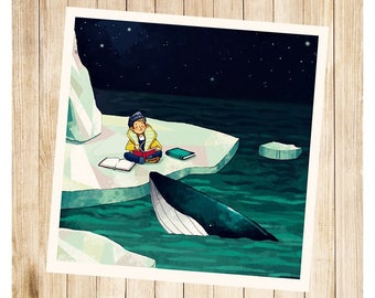"""Basile and the whale"", square post card."