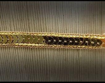 Ribbon trim gold sequins 1 cm - stripe sewing sequins - customization Venetian costume - Carnival - Scrapbook - embellishment