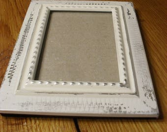 Vintage Distressed Metal Picture Frame Shabby Chic Rustic Weathered Cottage Decor