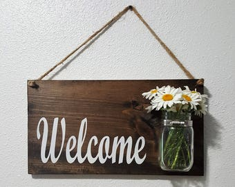 Welcome Sign w/ Mason Jar
