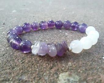 Crown Chakra bracelet Amethyst Stretch bracelet Moonstone bracelet Healing Stone bracelet Reiki Energy bracelet Boho Gemstone bracelet