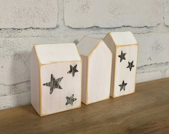 Wooden houses, Wood house, Star pattern, Modern home decor, Hostess gift,