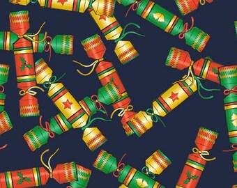 FS157 Christmas Crackers Navy Print Thin Soft Jersey Spun Polyester Fabric - Sold Per Metre …