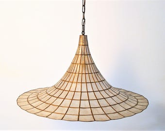 Hollywood Regency Nacre or Mother-of-Pearl and Brass Chandelier , Pendant Lamp, Italy, 1960, interior design, home decor