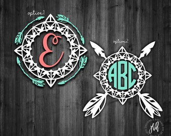 Boho Monogram decal, Boho  feather monogram decal, feather arrow decal, car decal