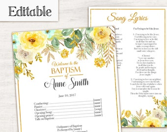 Baptism Program, Editable PDF, Printable Digital Handout Girl Baptism, yellow flowers, gold, Girl Baptism, Program Template