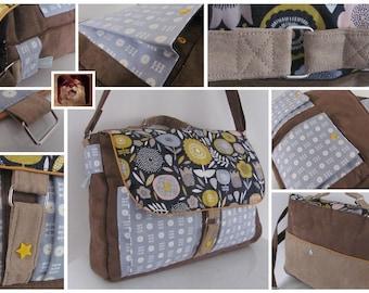 """Messenger suede trend satchel """"Lulie"""" graphic flower motifs"""