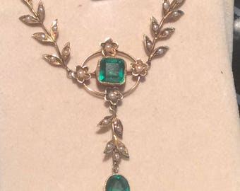 14K tourmaline with seed pearls Victorian lavaliere # 2000