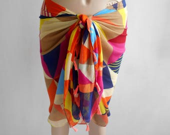 Rainbow Sarong, Bikini skirt, Swimsuit coverup, Beach cover up, Pareo sarong wrap, Summer scarf, Rainbow Pareo, Cotton Sarong, Pool Cover