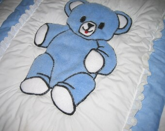 1 Handmade Baby Quilt Blanket Shower Gift Blue Boy or Girl