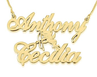 Name Necklace Jewelry Pendant 24K Gold Plated Two Alegro Name Necklace with Cupid