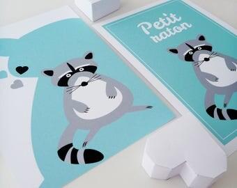 """Set of four illustrations for children """"Little raccoon"""""""