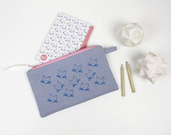 All hand made Pouch + Cat A6 notebook