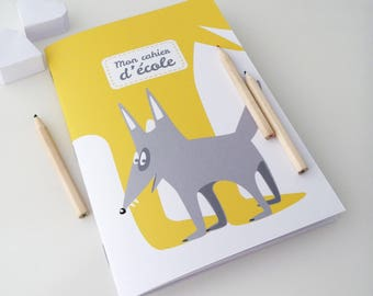 School notebook kids 14x20cm illustrated with a little Grey Wolf