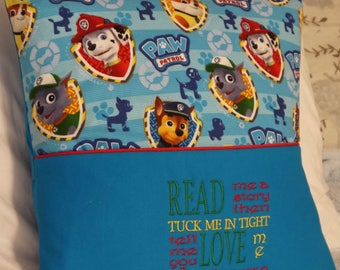 "Reading Pillow Pocket Paw Patrol Rescue Pillow Pocket Pillow Toddlers Boys Bedroom Decor ""Read Me A Story"" Travel Pillow Storybook Pillow"