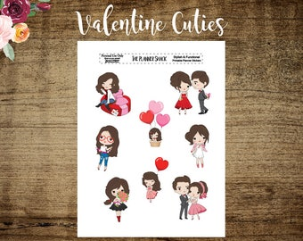 Valentines Cutie Die Cuts | Brunette | Printable Die Cuts | Planner Die Cuts Travelers Notebook | Cut File | Valentines Days