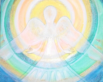 New original 50 x 50 angel painting, angel artwork painting