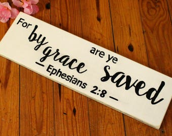 For By Grace, Wood Sign, Black and White, Wall Hanging, Hand Made, Hand Painted