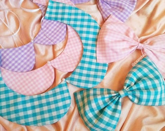 Detachable Pastel Gingham Collar and Bow set