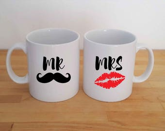 Mr and Mrs, Mrs and Mrs, Mr and Mr, Personalised Mustache and Lips Mug Set.