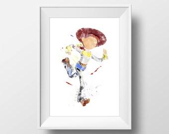 Wall Art Watercolor Disney Pixar Jessie Print,Toy Story Print,Nursery Print,Watercolor Disney,Baby Gift,Room Decor,Party Decor,Disney Poster
