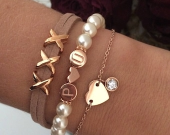 Personalised initials pearl bracelet ivory/rose gold