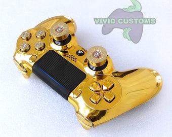 Custom PS4 Controller - Modded Sony PlayStation 4 Pro/Slim Version 2 Dualshock Wireless Pad - Gold Bullet Mod V2
